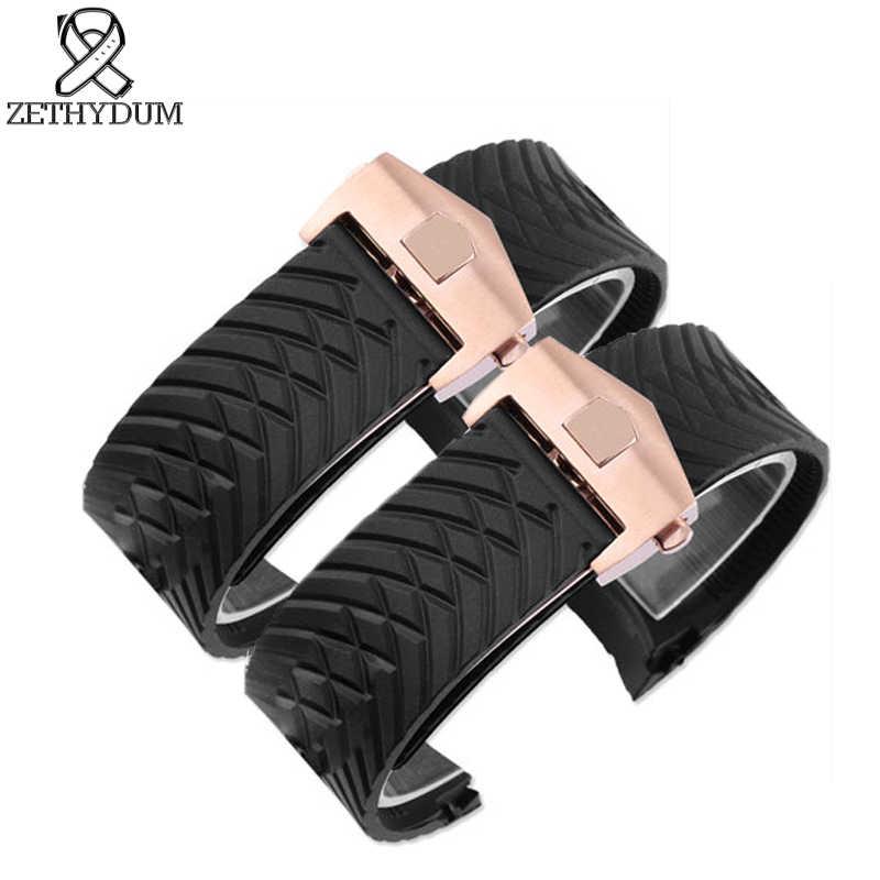Jam tangan silikon menonton sabuk tahan air karet gelang 24mm hitam band perhiasan aksesoris gesper Lipat