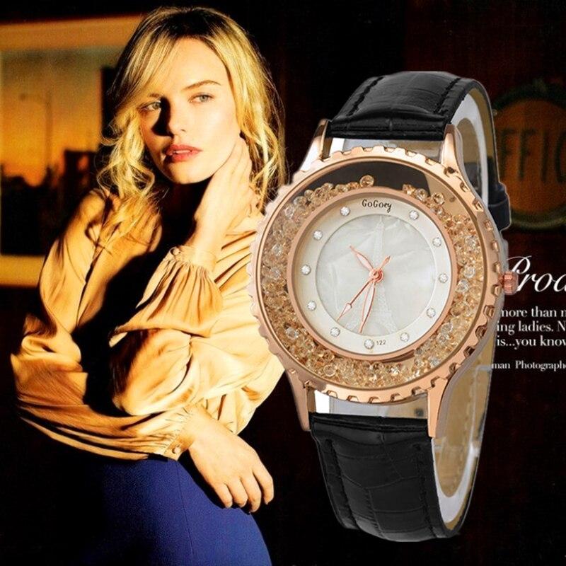 Women Elegant Quartz Wristwatch Fashion Bling Crystal Luxury Dress Watch Mujer Leather Strap Relogio Feminino Montre watches