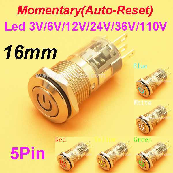 1PC 16MM Panel hole Momentary Auto-Reset Metal Button Switch with LED 12V/24V Power push button indication car dash 1pc 12mm power start push button with led 12v 24v momentary auto reset metal button switch indication illuminated flat head