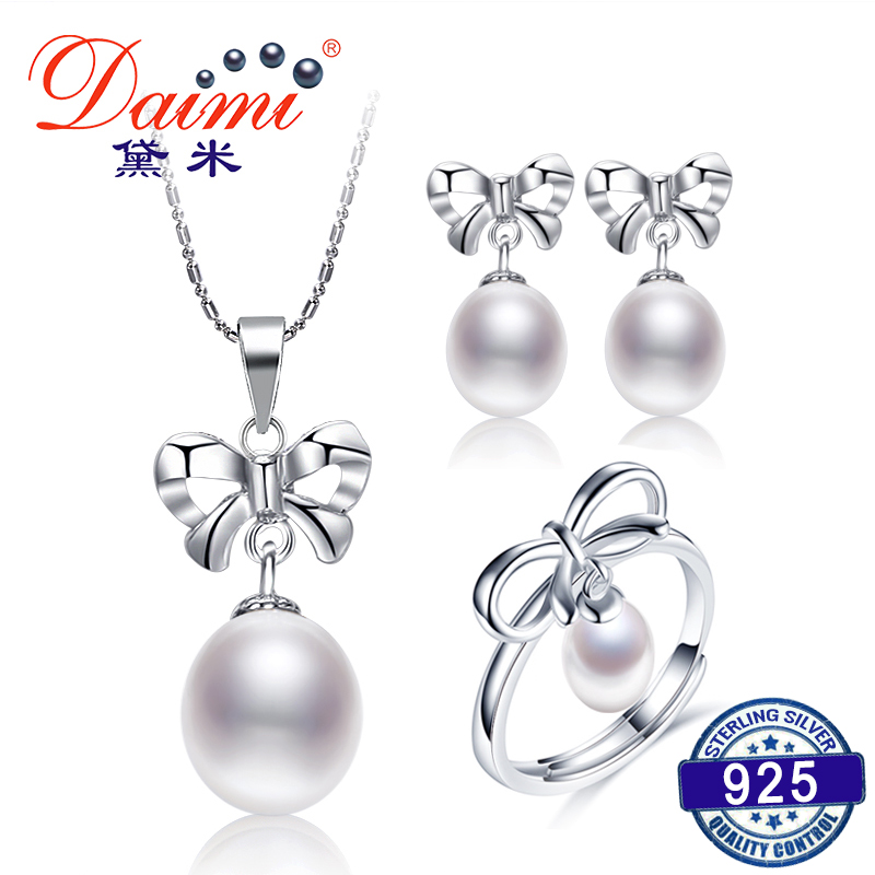 DAIMI Pearl Bowknot Jewelry Set 7-9mm Tear Drop Natural Pearl Set Pendant+Earrings +Ring Fine Jewelry Gifts For Women pair of trendy filigree rose gold rhinestone leaf fringe earrings for women