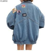 Harajuku Denim Jackets Coat Women Patch Designs Long Sleeve Bomber Jacket Casual Loose Casaco Feminino Vintage Jaqueta Feminina