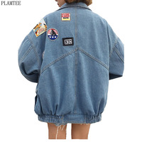 Harajuku Denim Jackets Coat Women Patch Designs Long Sleeve Bomber Jacket Casual Loose Casaco Feminino Vintage Jaqueta Feminina