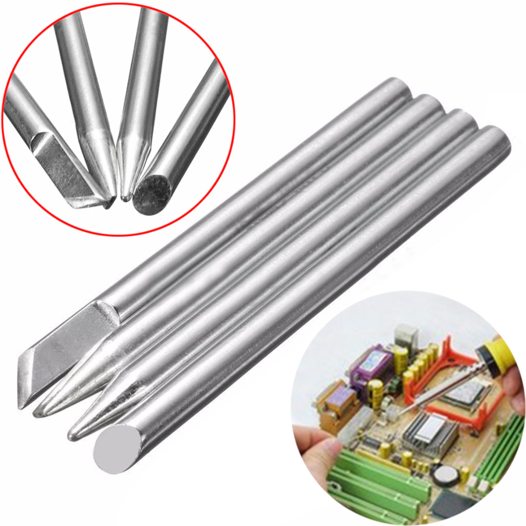 4pcs 40W Soldering Iron Tips Replaceable Welding Tips 4mm X 65mm For Soldering Repair Station
