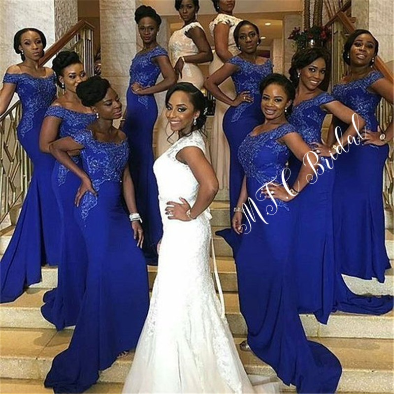 Royal Blue Mermaid African   Bridesmaid     Dresses   Wholesale 2019 Off The Shoulder Appliques Elastic Satin Long Maid Of Honor   Dress