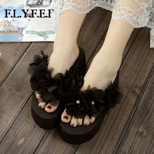 Flyfei High Quality Women Platform Wedge Flip Flops Five Flowers Pearl Decorate Nice Cusual Party