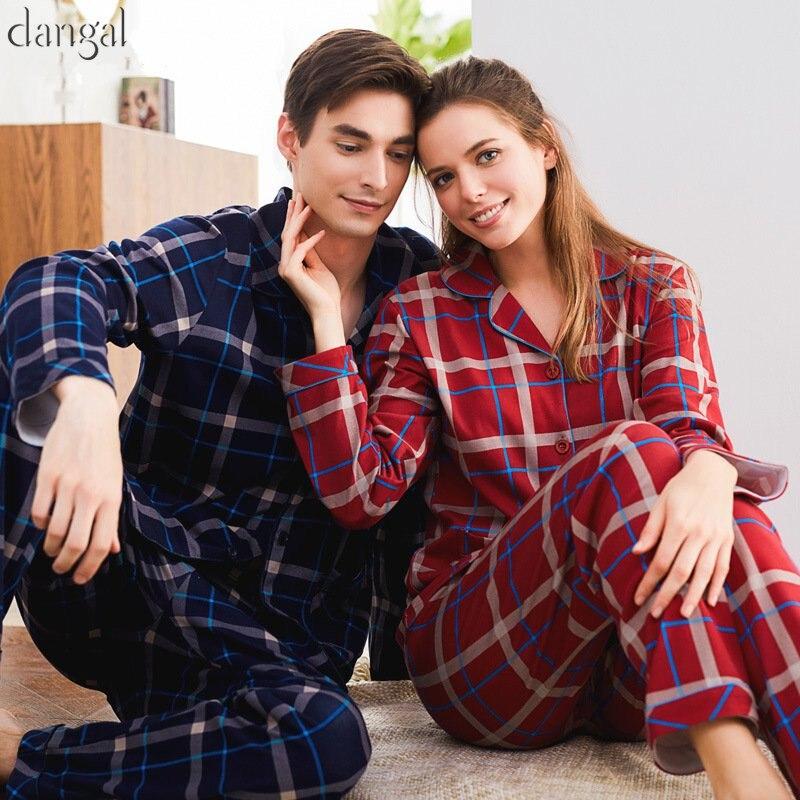 Dangel Couple Pajamas Adult Man Pajamas Cotton Winter Autumn Grid Long Sleeves Couple Pajamas Thick Warm Causal Couple Pajama