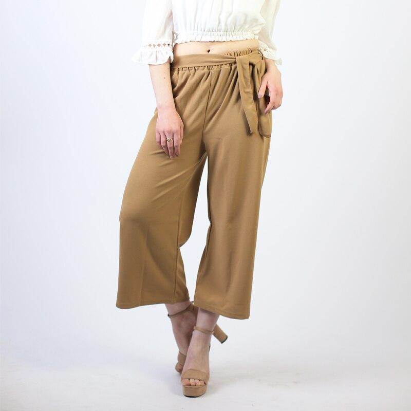 Womens Plus Size Stretch High Waisted Wide Leg Tri-Colour Stripe Print Culottes