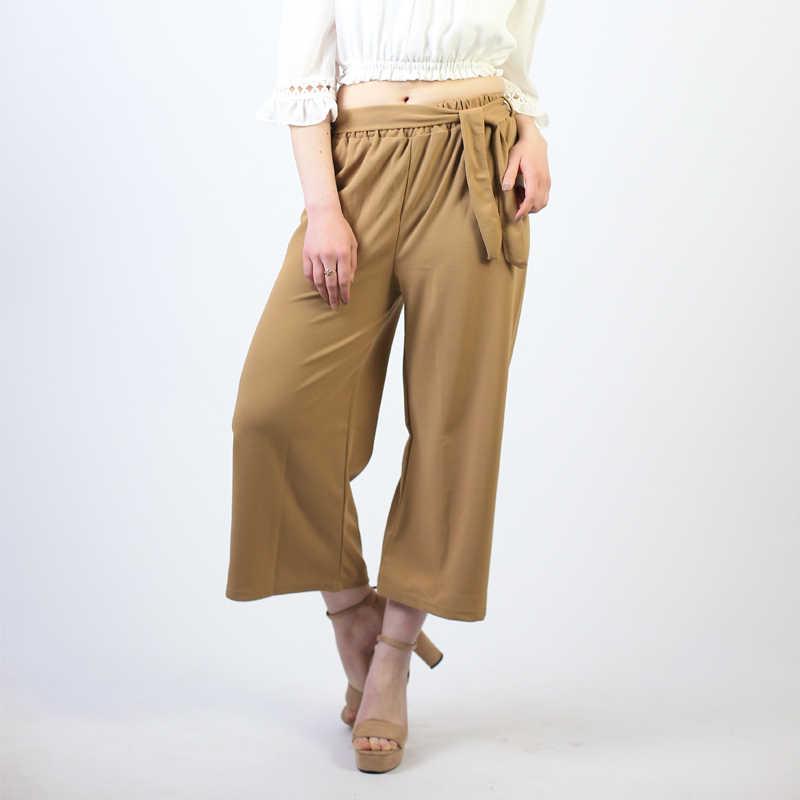 Donne Tie Pantaloni Larghi Del Piedino di Colore Solido Pantalones Femminili a Vita Alta Sottile Chiffon Più Il Formato Casual Signore Culottes Pantaloni