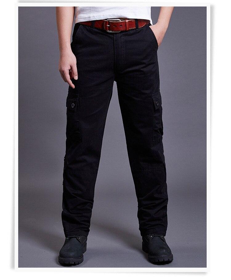 Icpans Winter Tactical Black Cargo Pants Men Loose Fit Military Style Side Pockets Army Black Denim Casual Men Pants Size 40 42 15