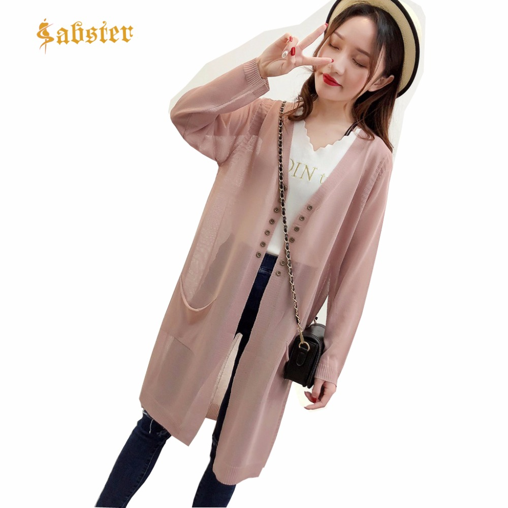 2018 women Casual Long Knitted Cardigan Loose Long Sweaters Outwear Long Sleeve Coat summer Knitted Ice silk shawl XZ340