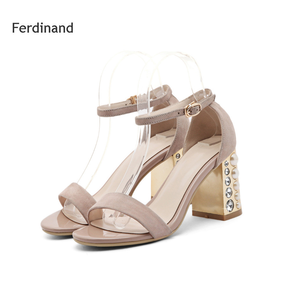2017 Fashion Women Sandals Genuine leather high heel shoes Peep toe Square heel Solid color Black Red Buckle Crystal Summer women genuine leather sandals fashion pointed toe causal shoes buckle solid color black pink orange spring shoes square heel