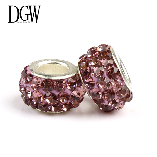 DGW 6 cor Contas De Cristal Bead Charme Europeu Mulheres Fit Pandora Bracelet & Bangle jóias DIY