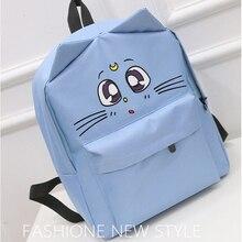 Милый Кот печати женские рюкзаки холст сумки на плечо мультфильм школьные сумки для девочек-подростков повседневные однотонные рюкзаки женские сумки