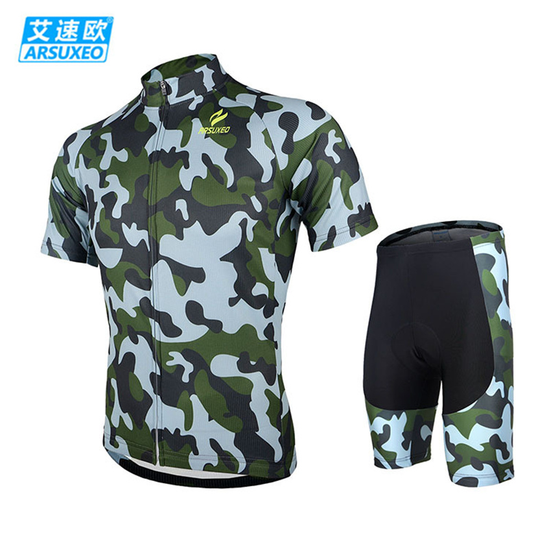 ARSUXEO Camouflage Men Short Sleeves Jersey + 3D Coolmax Padded Shorts Set Road Mountain Bike Bicycle Cycling Wear Clothing Suit triathlon fitness women sports wear shorts kit sets cycling jersey mountain bike clothing for spring jersey padded short page 9