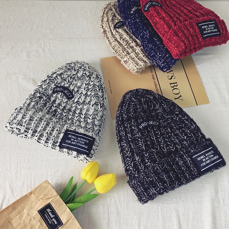 Winter Warm Skullies Beanie Hat Women 2017 New Hot Fashion Casual Thick Knitting Hats Letters Mixed Color Simple Beanies skullies