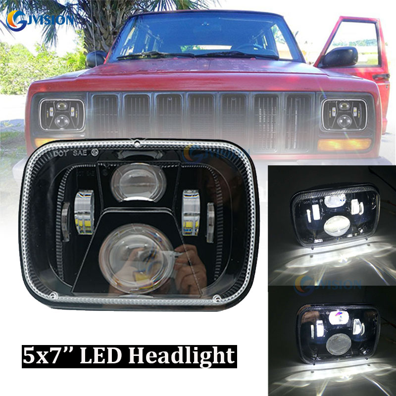High Low Beam 5x7 Inch Truck LED Headlight 7x6 '' LED projector Headlamps for Jeep Toyota Tacoma pickup Ford E350 Dodge Ram 9012 hir2 led headlight bulbs 50w 8000lm fanless auto headlamp conversion kit for toyota chevrolet cadillac buick gmc ford jeep