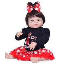 Newborn Dolls Ankomst Reborn de Silicona Vinyl Full Body Dolls 23 '' Realistiska Babies Leksaker För Flicka XMAS Presenter Bebe Reborn