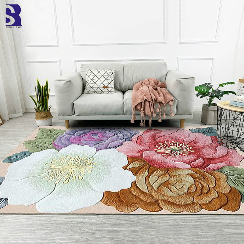 SunnyRain 1-piece 3D Flowers Area Rug and Carpets for Home Living Room Large Size Rug for Bedroom Slipping ResistanceSunnyRain 1-piece 3D Flowers Area Rug and Carpets for Home Living Room Large Size Rug for Bedroom Slipping Resistance