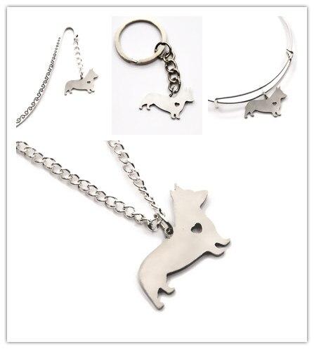Flight Tracker Corgi Dog Necklace Charm Heart Cute Pet I Love Dogs Charm Pendant Necklace Bangle Keyring Bookmark