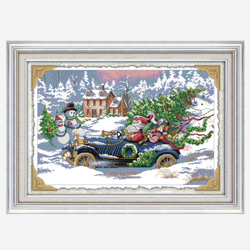 Everlasting love Roadster Santa Ecological cotton chinese Cross Stitch kits 11CT Printed DIY gift new year decorations for home