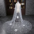 2017 New Long Wedding Veils One-Layers With Cut Edge Bridal Veil Beads Pattern Wedding Accessories White Color For Wedding