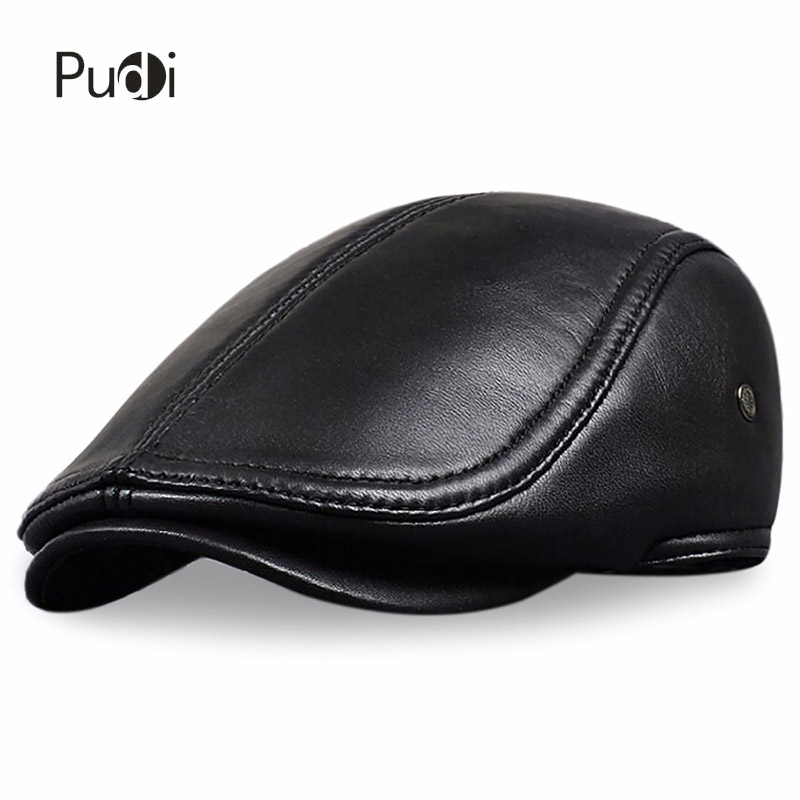 HL041 Men's Leather   baseball     Cap   brand new style sheep leather beret newsboy belt hunting gatsby black   caps   hats