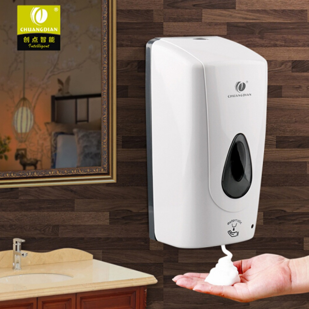 CHUANGDIAN 1000ml Auto-Induction Wall Mount Spray Liquid Soap Dispenser Shower Lotion Shampoo Condition Container Free Punching automatic infrared sensor free punching liquid soap container wall mount pump lotion drop soap dispenser for bathroom toilet