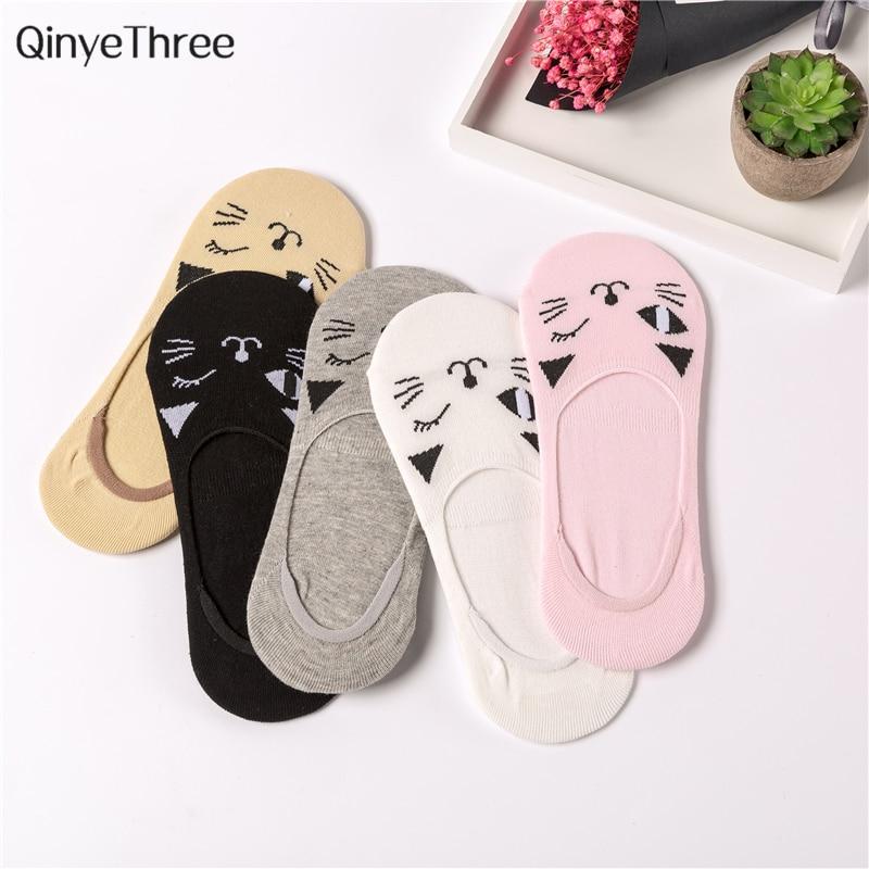 Summer Spring Fall no show Sox Soft Cute Animal Cotton   Socks   Female Kawaii Blinking Cat   Socks   for Women Girls Soken 1 pair=2 pcs