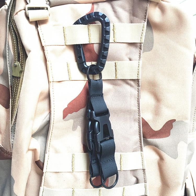 1 Pc Single Code HobbyLane Nylon Carabiner D type Outdoor MOLLE Webbing Belt Keychain Buckle Strap Buckle Lock Travel Set in Climbing Accessories from Sports Entertainment