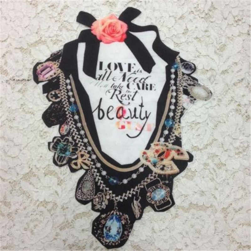 Fashion Cute Patch DIY Clothes 34CM Flower Collar Stickers Thermal Transfer Printing Iron on patches for clothing T shirt Women