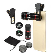 4 in 1 Phone Camera Lens 10X Zoom Monocular Telephoto Telescope Lens Fisheye Wide Angle Marco Lens for All  iPhone android ios цена и фото