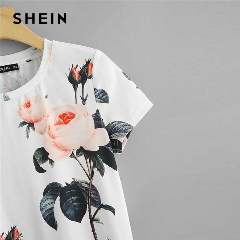 SHEIN Blume Druck Rundhals T shirt Frauen 2019 Wochenende Casual Kurzarm Sommer T-shirt Weiß Ausgehen Damen Tops