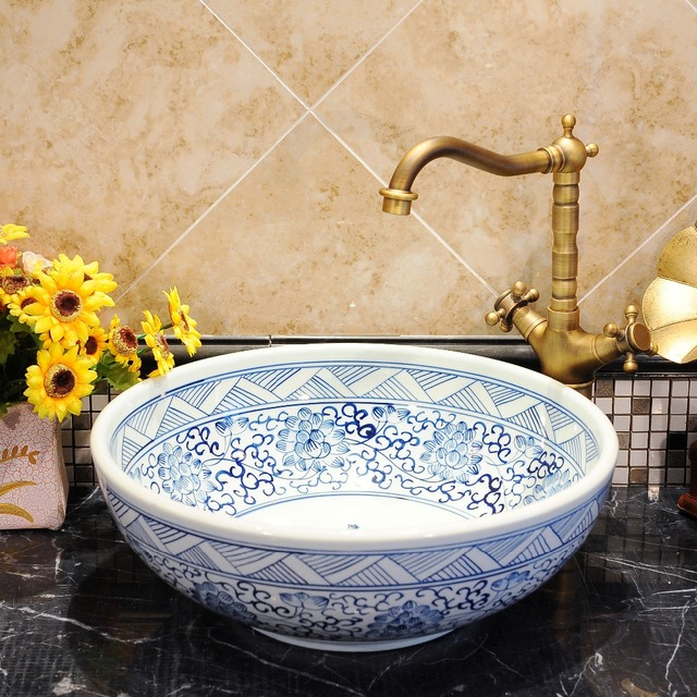 Round Bthroom Counter Top Wash Basin Cloakroom Hand Painted Vessel Sink  Bathroom Sinks Blue And White