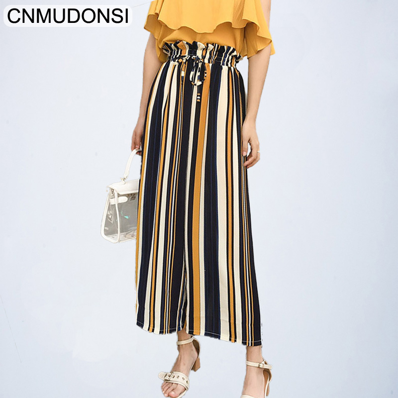 CNMUDONSI 2109 Vadim women elegant striped   wide     leg     pants   sweet bow tie elastic waist pockets female casual chic loose trousers
