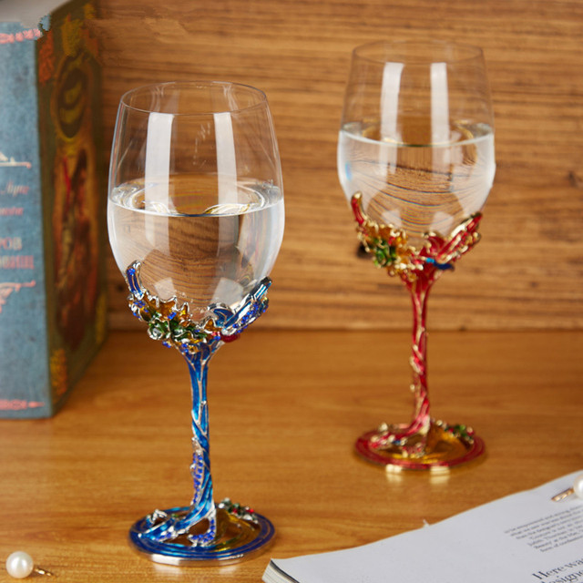 Crystal champagne Glass red wine Glass High Foot Enamel Wine Glass Wedding Gift Goblet With Bird Shape
