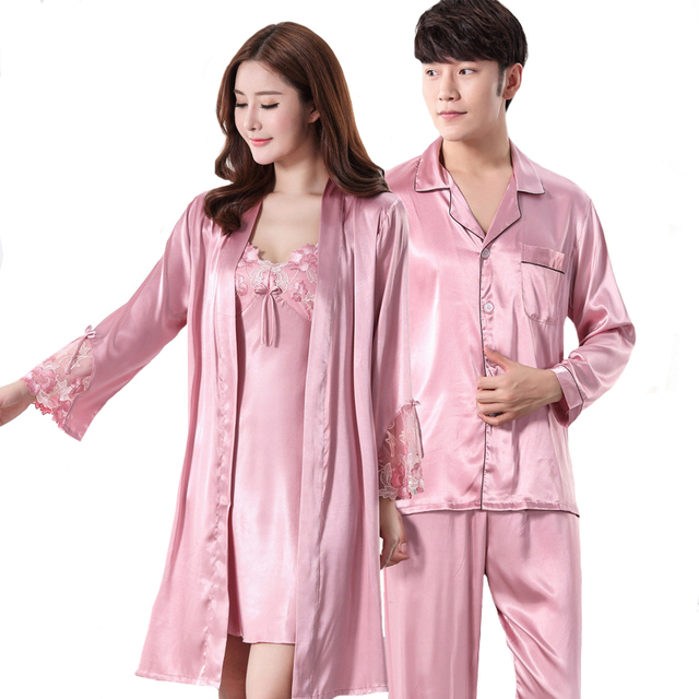 f817227fb6 Casual Pajamas Set New Lovers Loungewear Silky Satin Robe Set Solid Kimono  Bathrobe Long Sleeve 2PCS Sleepwear For Couple
