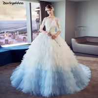 Luxury Ball Gown Wedding Dress Dubai Sexy Illusion Puffy Wedding Gowns Half Sleeves Colorful Royal Train Wedding Dress Princess