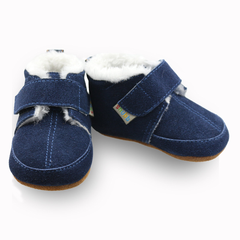 Brand Plush Lining Genuine suede Leather Baby Moccasins Rubber bottom first walker baby shoes warm winter boots Brown/Blue