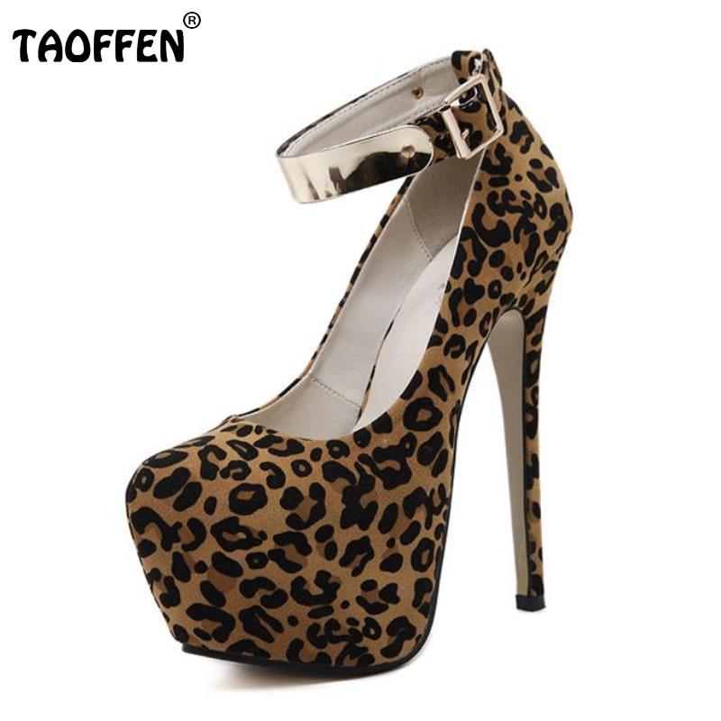 ФОТО Women Shoes Women Pumps High Heeled Shoes Platform Thin Heels Leopard Ankle Wrap Fashion Footwear Metal Decoration Size 34-40