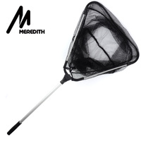 MEREDITH 90cm Folding Fishing Net Retractable Telescoping Aluminum Alloy Pole Super Large Folding Landing Net