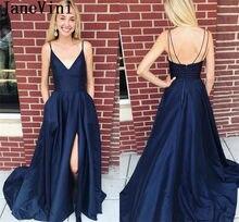 6f77848a219 JaneVini Sexy Navy Blue Prom Dresses 2019 Pockets Long Side Slit Evening  Party Dress Robe De Bal Fille Backless Graduation Dress