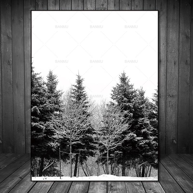 Skandinavia Musim Dingin Salju Hutan Pohon Nordic Abstrak Gambar - Dekorasi rumah - Foto 3