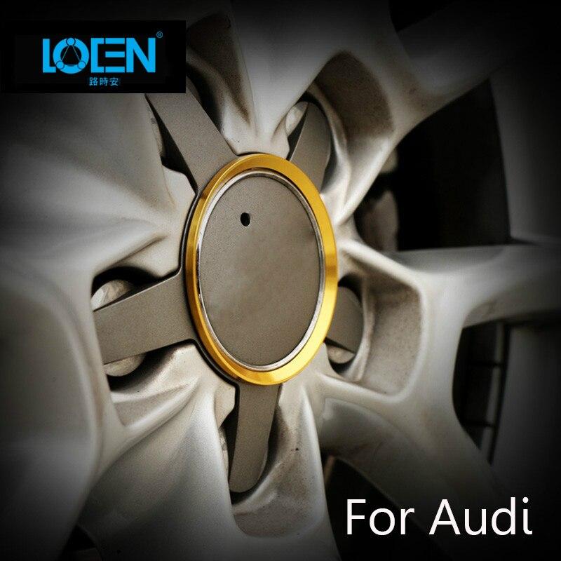 4PCS Car-Styling Wheel Hub Cover Stickers Rim Decorative Ring Sticker Red Gold Blue Zinc Alloy For Audi A3/A4L/A6L/Q3/Q5