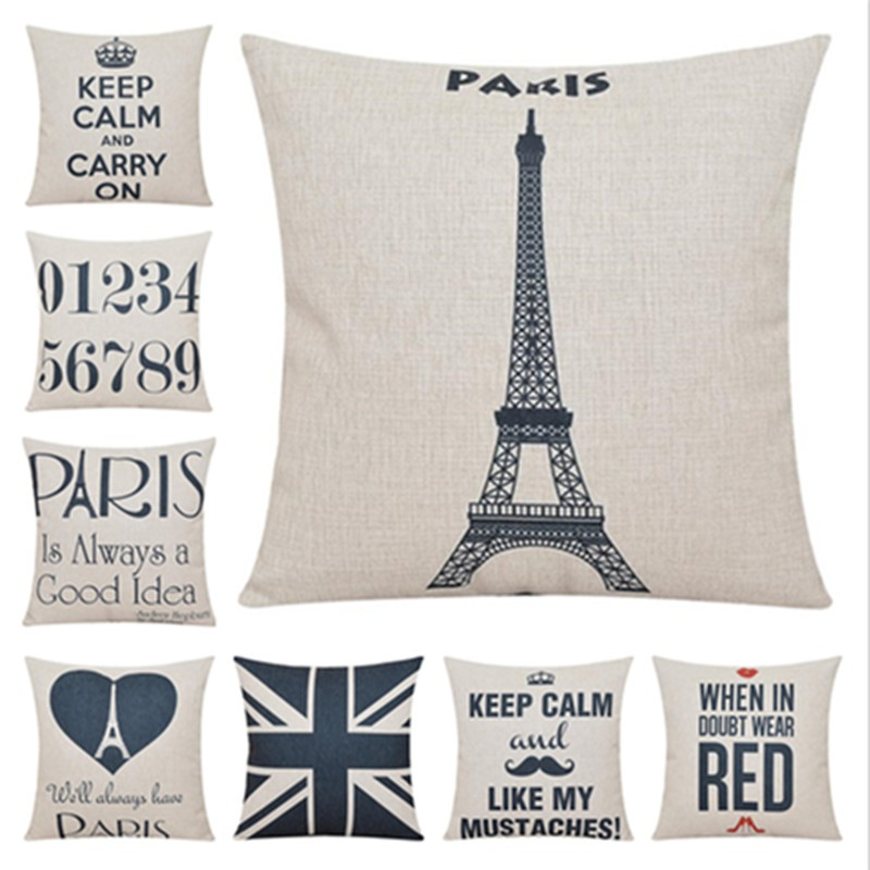 Gaya Fesyen Home Decor Sofa Bantal Bantal Paris City Bercetak Cushion - Tekstil rumah