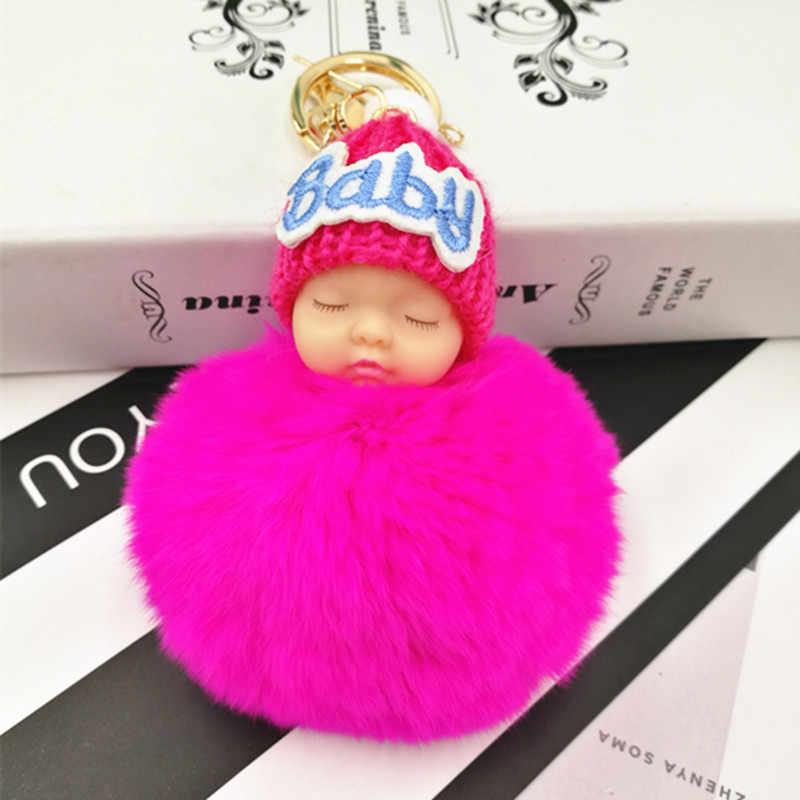 Alta Quily Dormir Baby Doll Chave Chaveiro Cadeia chaveiro Coelho Rex Naturais Pele De Coelho Pom Pom Fofo Saco Chaveiro Carro bugiganga