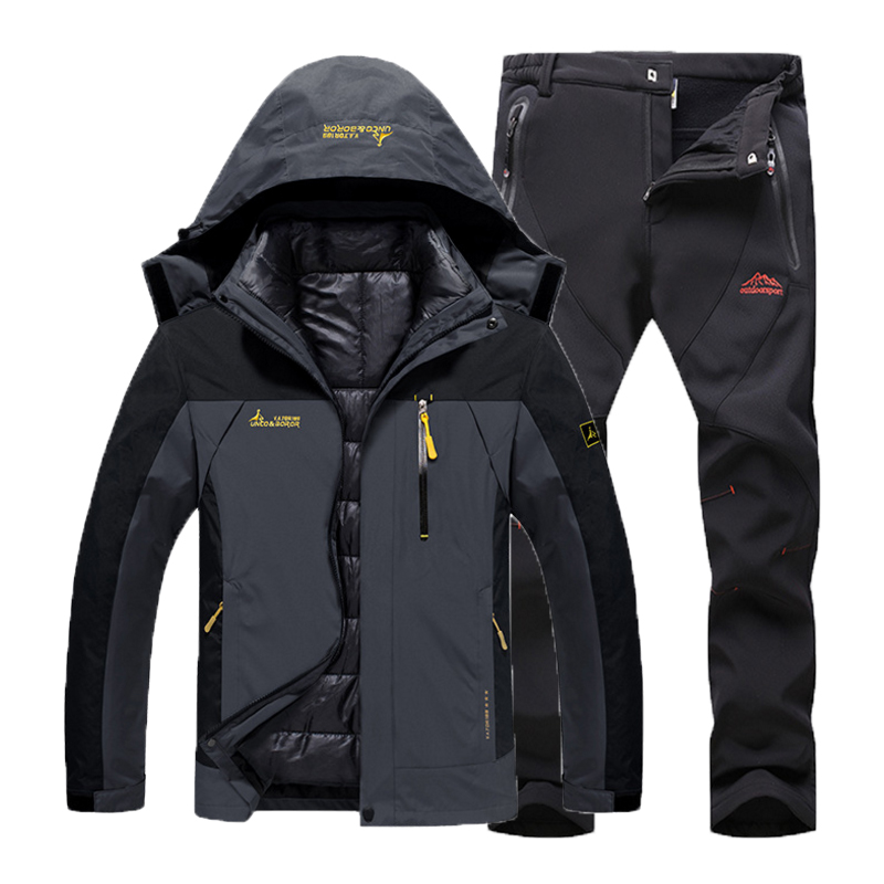 Men Winter Waterproof Fish Trekking Hiking Camp Ski Climb Warm Plus Size 3 in 1 Cotton Outdoor Jackets Softshell Pants Suit Coat