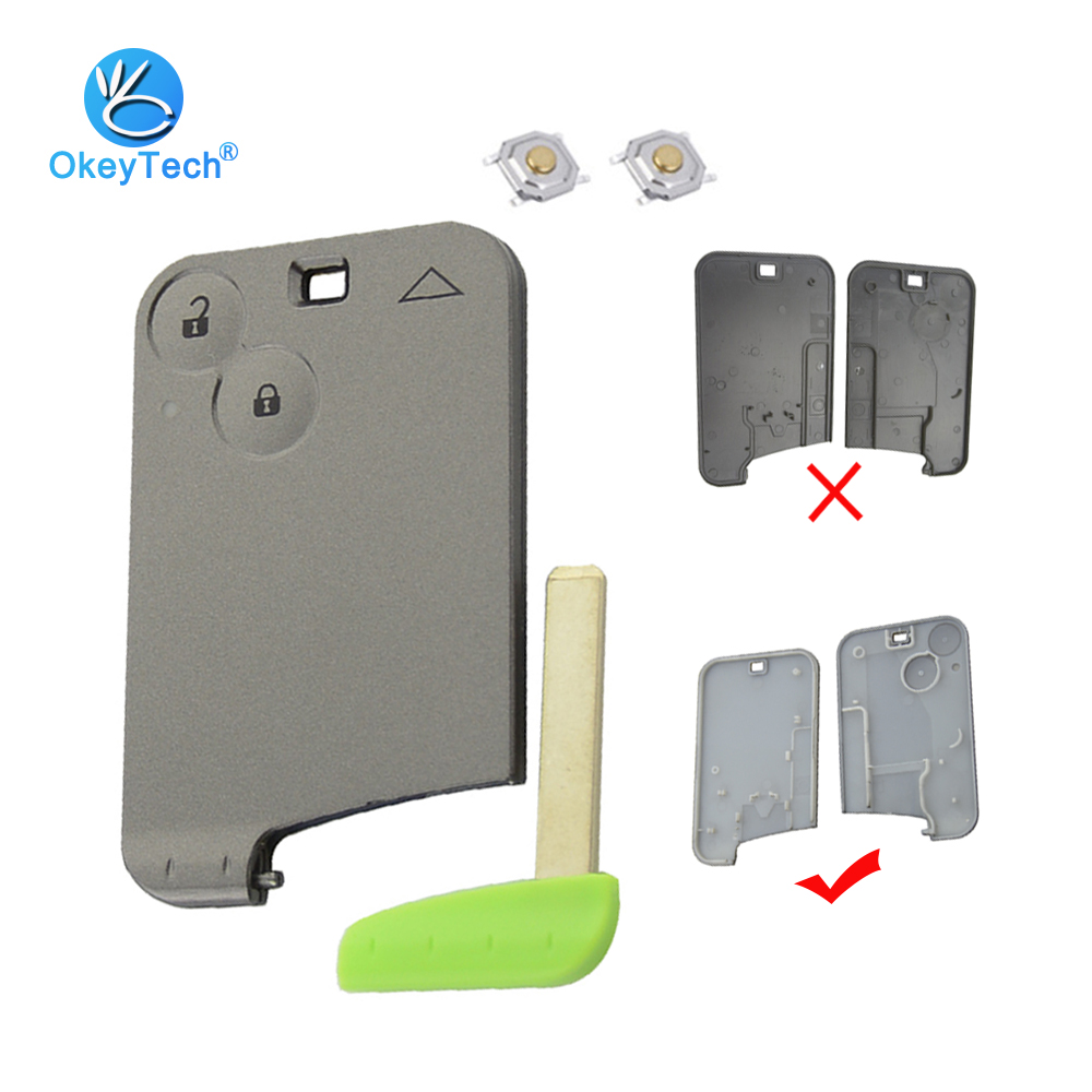 OkeyTech For Renault  Laguna Espace Smart Card Remote Car Key Shell Fob Cover Case 2 Button With Insert Blank Blade Micro Switch