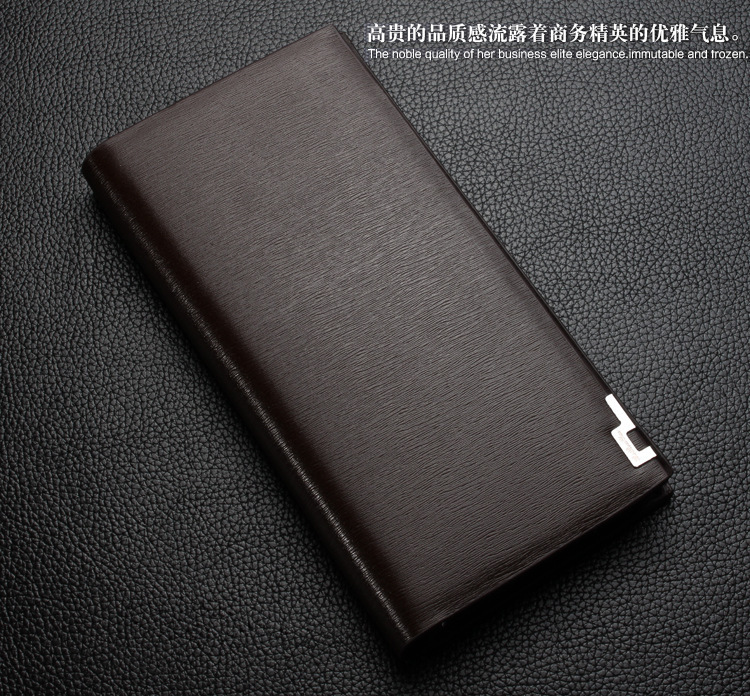 Business Long Men Wallet New Fashion Genuine Leather Pouch Famous Brand Vintage Purse Card & ID Holder 2 Fold Solid Male Wallets