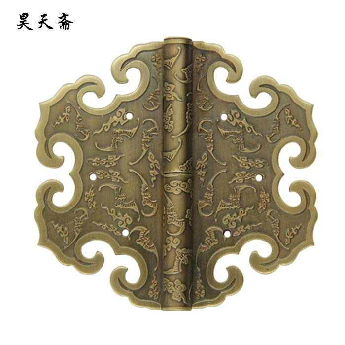 [Haotian vegetarian] Antique Chinese brass coat detachable door hinge (hinge) Queen 10cm [haotian vegetarian] box door hinge chinese antique brass door 12 5cm muffler coincide page hinge