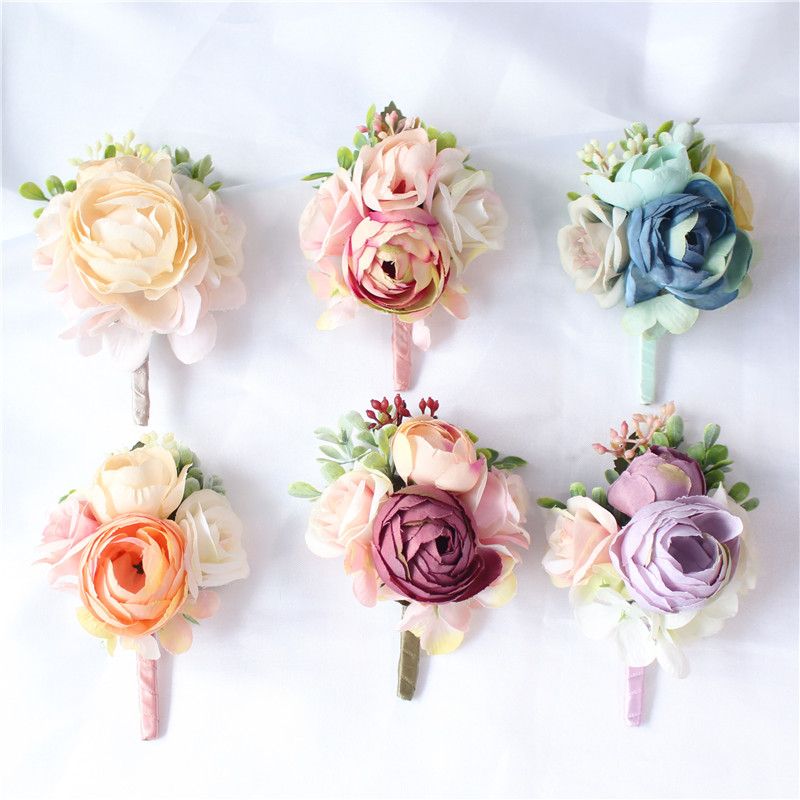 YO CHO Bridesmaid Decor Mini Rose Flowers Head Wrist Flowers And Boutonnieres Set Bride Decorations Wedding Bouquet Peony Brooch
